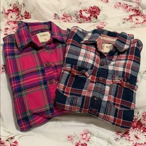 Lot of 2 Hollister plaid/ flannel  shirts size  XS